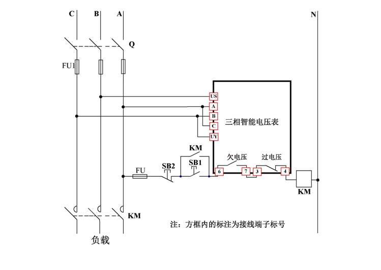 三相智能电压表 三相数显电压继电器